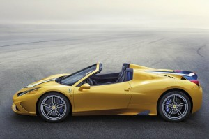 The Ferrari 458 Speciale A is the most powerful Ferrari convertible in history, hitting 60 mph in 3 seconds on a 605-horsepower V8 engine. Nearly as quick is its retractable aluminum hard top, which takes just 14 seconds to deploy and adds only 50kg (110 lbs) over the coupe version. Source: Ferrari
